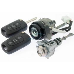 Hyundai Komplettes Zündschlossset  für I10 - mit 2 gefräßten Schlüssel - 433 Mhz - ID46 Chip - Schlüsselblatt TOY49 -  OEM Produkt
